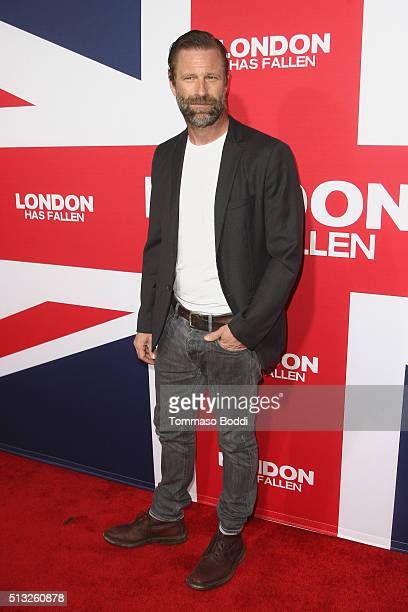 Actor Aaron Eckhart attends the premiere of Focus Features' 'London Has Fallen' held at ArcLight Cinemas Cinerama Dome on March 1 2016 in Hollywood...