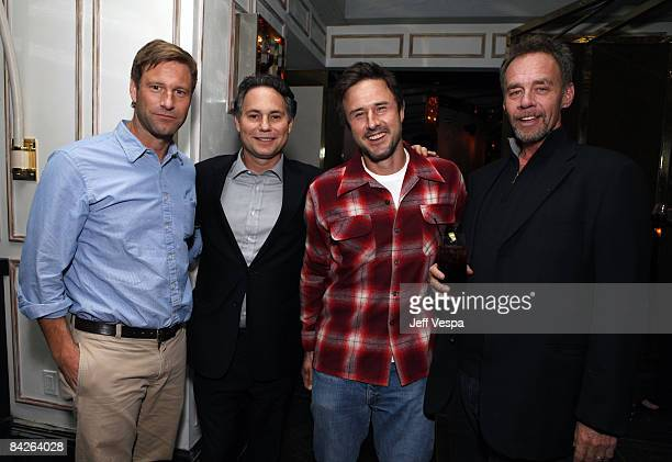 Actor Aaron Eckhart Niche Media CEO Jason Binn actor David Arquette and The New York Time's David Carr attend Los Angeles Confidential Magazine's...