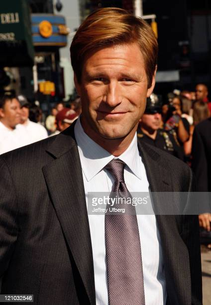 Actor Aaron Eckhart visits 'Late Show with David Letterman' at the Ed Sullivan Theatre on July 15 2008 in New York City