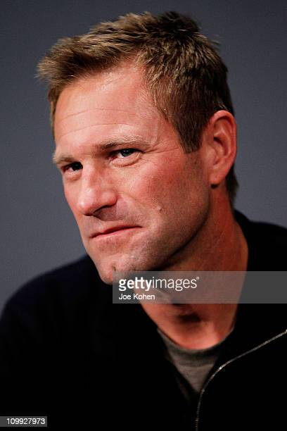 Actor Aaron Eckhart visits the Apple Store Soho on March 10 2011 in New York City