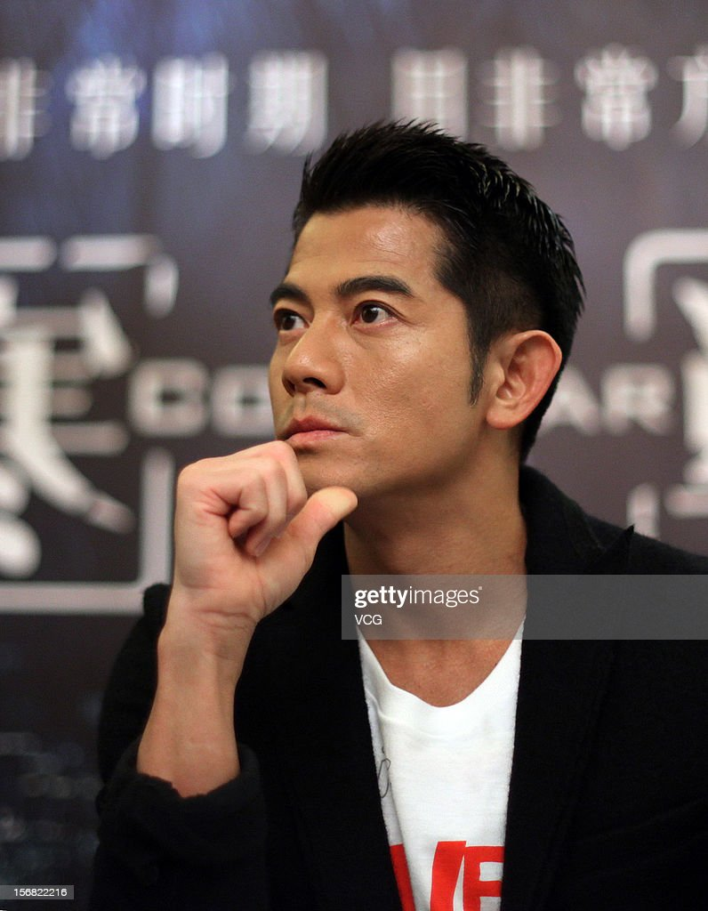 Actor <a gi-track='captionPersonalityLinkClicked' href=/galleries/search?phrase=Aaron+Kwok&family=editorial&specificpeople=618935 ng-click='$event.stopPropagation()'>Aaron Kwok</a> attends 'Cold War' press conference at Shangri-La Hotel on November 22, 2012 in Wuhan, China.