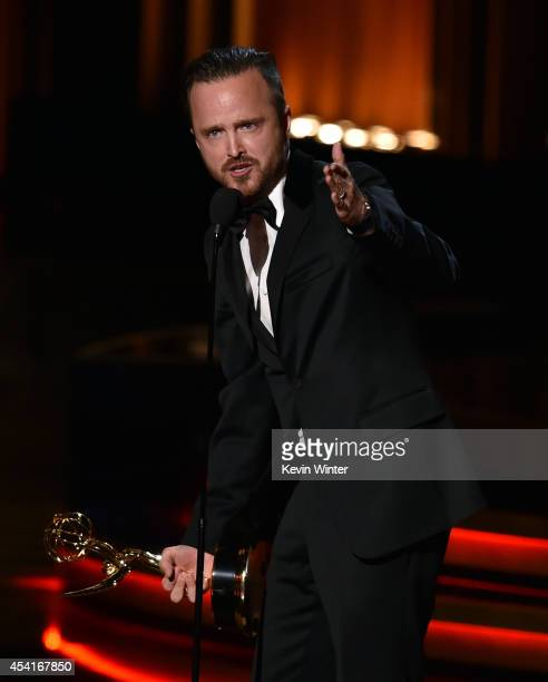 Actor Aaron Paul accepts Outstanding Supporting Actor in a Drama Series for 'Breaking Bad' onstage at the 66th Annual Primetime Emmy Awards held at...