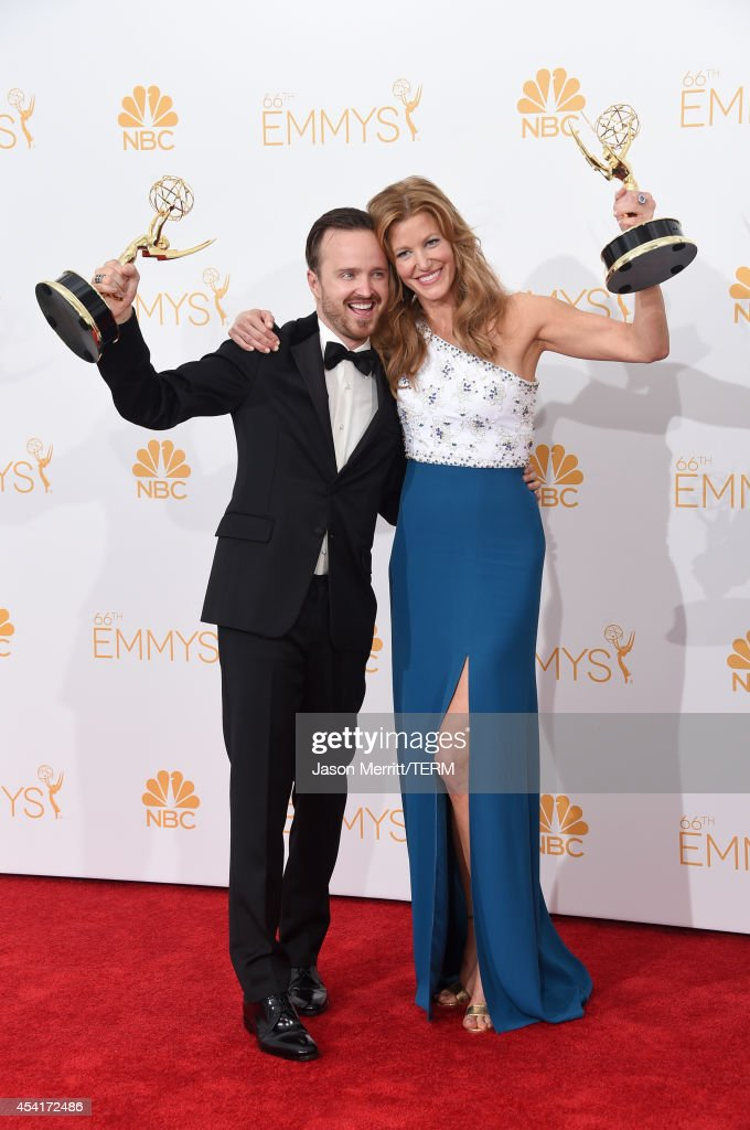 Actor Aaron Paul and actress Anna Gunn winners of Outstanding Drama Series Award Outstanding Supporting Actor in a Drama Series Award and Outstanding...