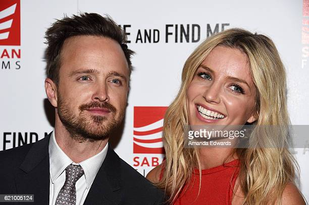 Actor Aaron Paul and actress Annabelle Wallis arrive at the premiere of Saban Films' 'Come and Find Me' at the Pacific Theatre at The Grove on...