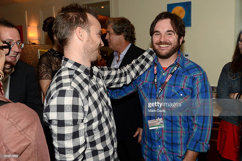 Actor <a gi-track='captionPersonalityLinkClicked' href=/galleries/search?phrase=Aaron+Paul+-+Actor&family=editorial&specificpeople=693211 ng-click='$event.stopPropagation()'>Aaron Paul</a> (L) and director James Ponsoldt attend the Sony Pictures cocktail hour during the 2012 Toronto International Film Festival at the Creme Brasserie on September 8, 2012 in Toronto, Canada.