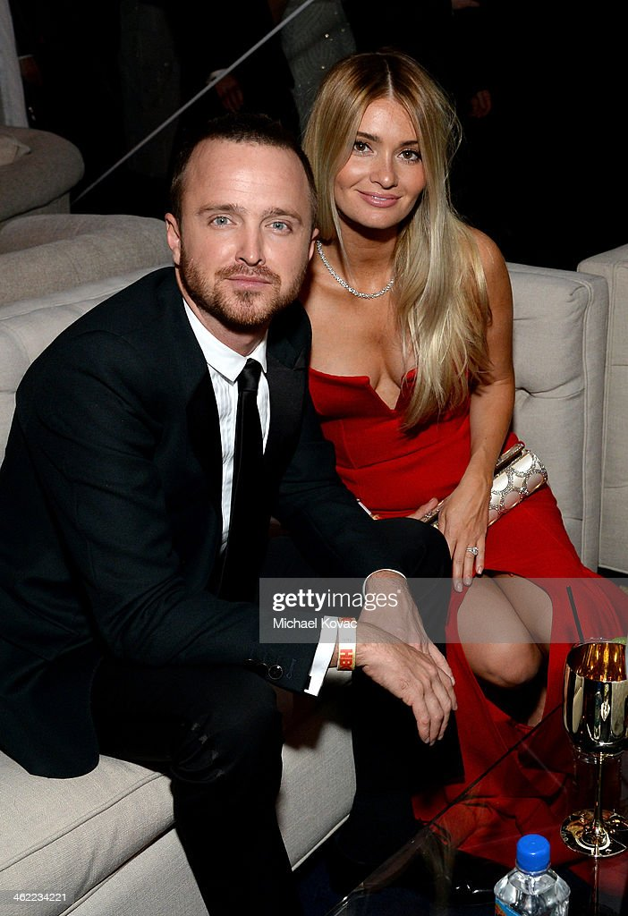 Actor Aaron Paul and director/actress Lauren Parsekian attend Moet Chandon at The Weinstein Company's 2014 Golden Globe Awards After Party on January...