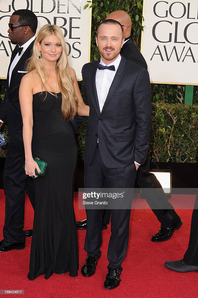Actor Aaron Paul and fiance Lauren Parsekian arrive at the 70th Annual Golden Globe Awards held at The Beverly Hilton Hotel on January 13 2013 in...