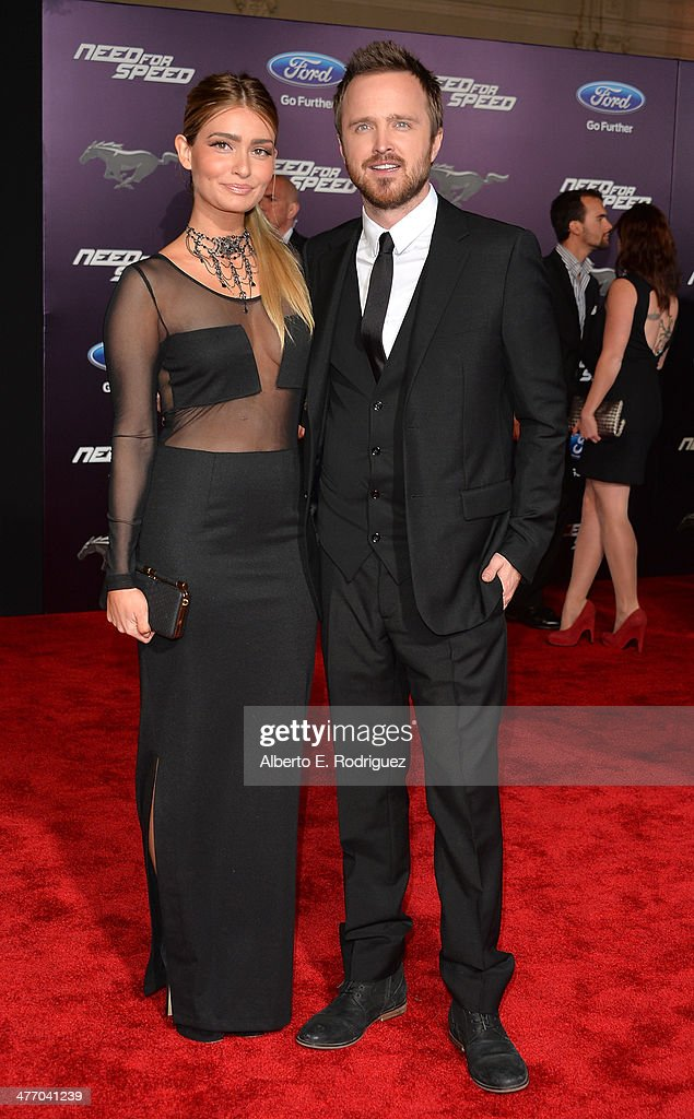 Actor Aaron Paul and his wife Lauren Parsekian arrive for the premiere of DreamWorks Pictures' 'Need For Speed' at TCL Chinese Theatre on March 6...