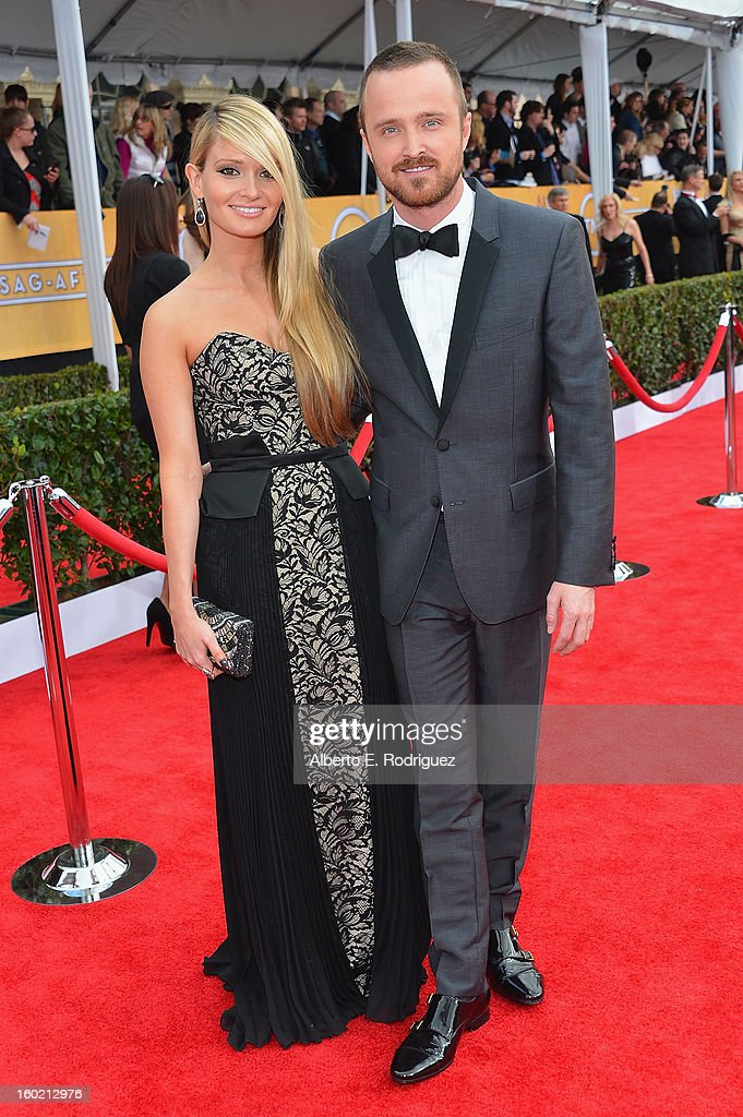 Actor Aaron Paul and Lauren Parsekian arrive at the 19th Annual Screen Actors Guild Awards held at The Shrine Auditorium on January 27 2013 in Los...