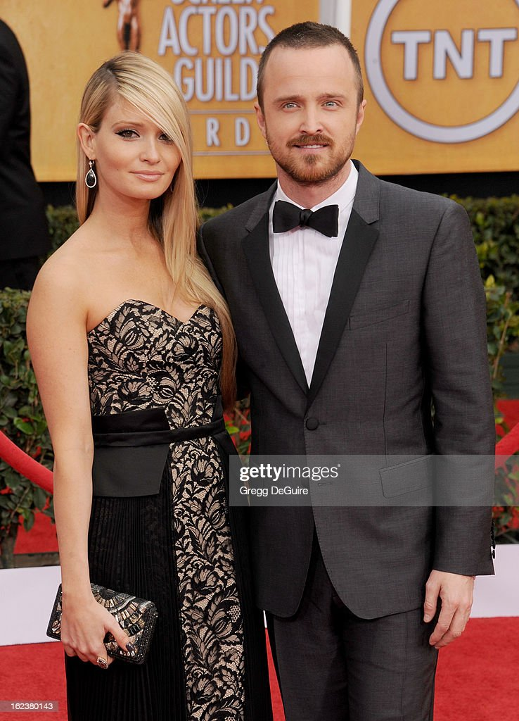 Actor Aaron Paul and Lauren Parsekian arrive at the 19th Annual Screen Actors Guild Awards at The Shrine Auditorium on January 27 2013 in Los Angeles...