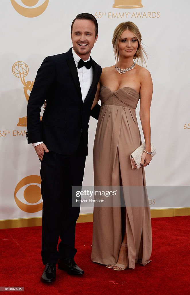 Actor Aaron Paul and Lauren Parsekian arrive at the 65th Annual Primetime Emmy Awards held at Nokia Theatre LA Live on September 22 2013 in Los...