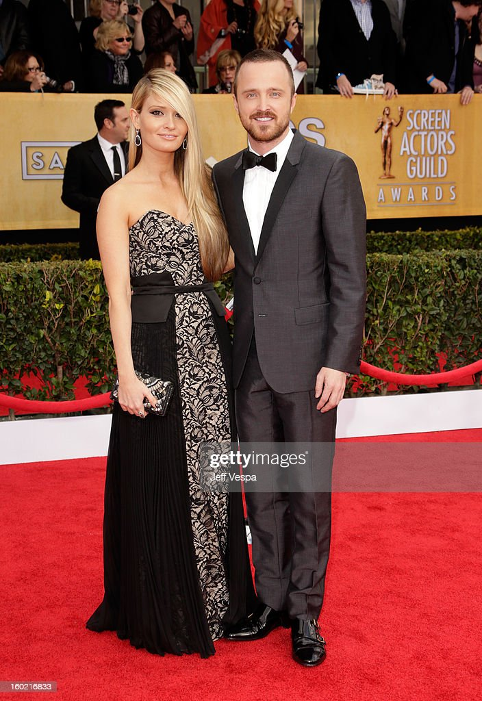 Actor Aaron Paul and Lauren Parsekian arrive at the19th Annual Screen Actors Guild Awards held at The Shrine Auditorium on January 27 2013 in Los...
