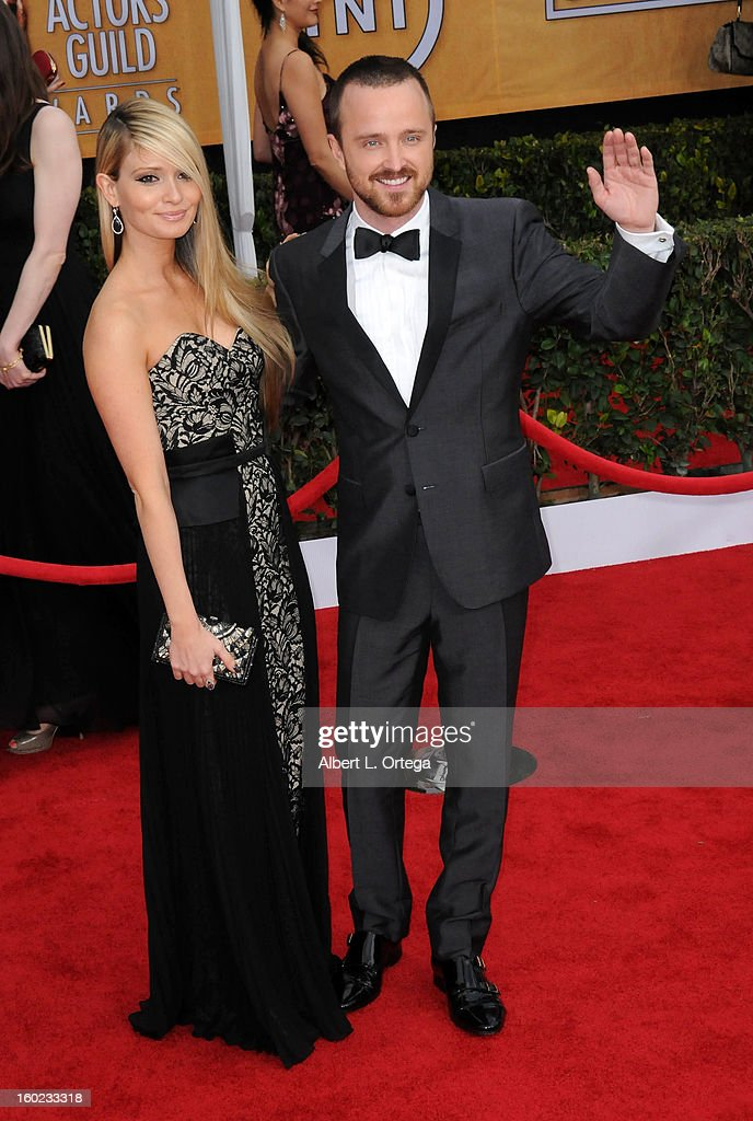 Actor Aaron Paul and Lauren Parsekian arrive for the 19th Annual Screen Actors Guild Awards - Arrivals held at The Shrine Auditorium on January 27, 2013 in Los Angeles, California.