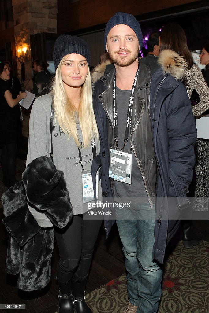 Actor Aaron Paul and Lauren Parsekian attend An Artist at the Table Dinner Program during the 2014 Sundance Film Festival at Stein Eriksen Lodge on...