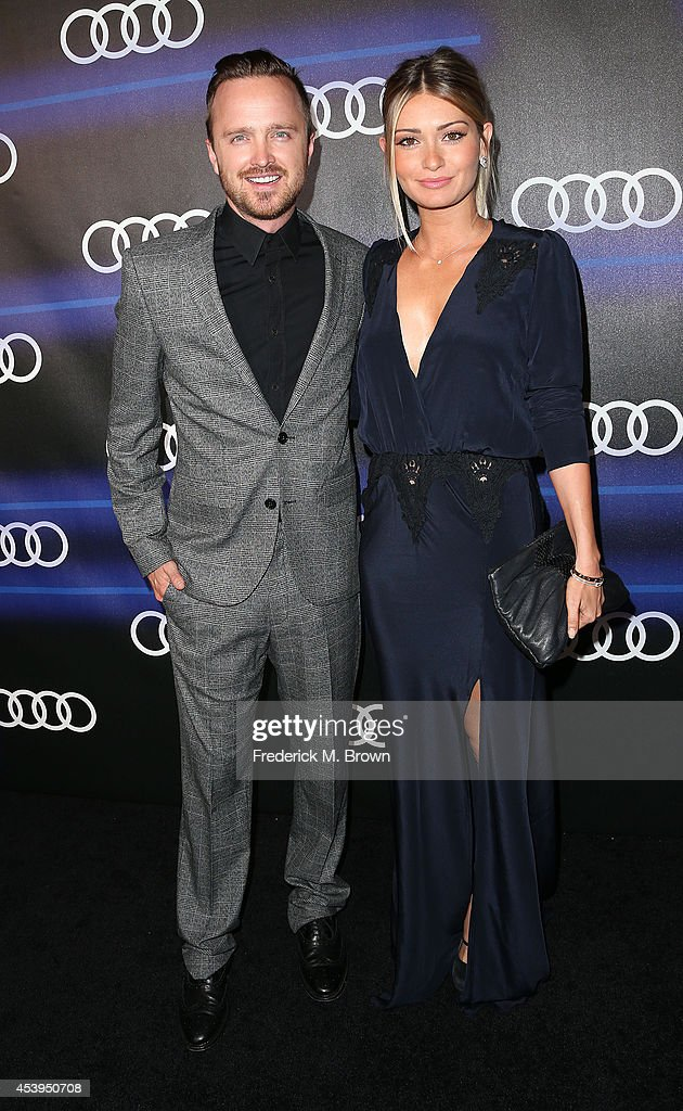 Actor Aaron Paul (L) and Lauren Parsekian attend Audi Celebrates Emmys' Week 2014 at Cecconi's Restaurant on August 21, 2014 in Los Angeles, California.