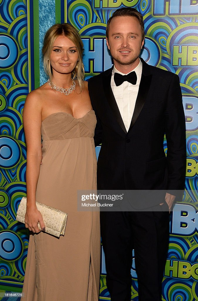 Actor Aaron Paul and Lauren Parsekian attend HBO's Annual Primetime Emmy Awards Post Award Reception at The Plaza at the Pacific Design Center on...