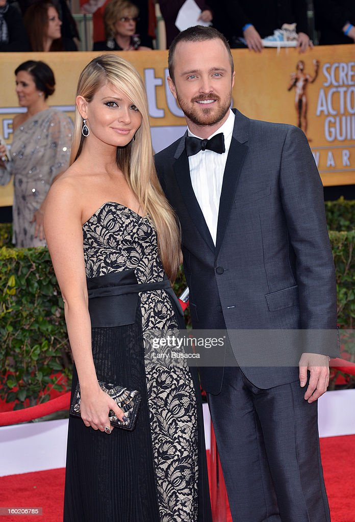 Actor Aaron Paul and Lauren Parsekian attend the 19th Annual Screen Actors Guild Awards at The Shrine Auditorium on January 27 2013 in Los Angeles...