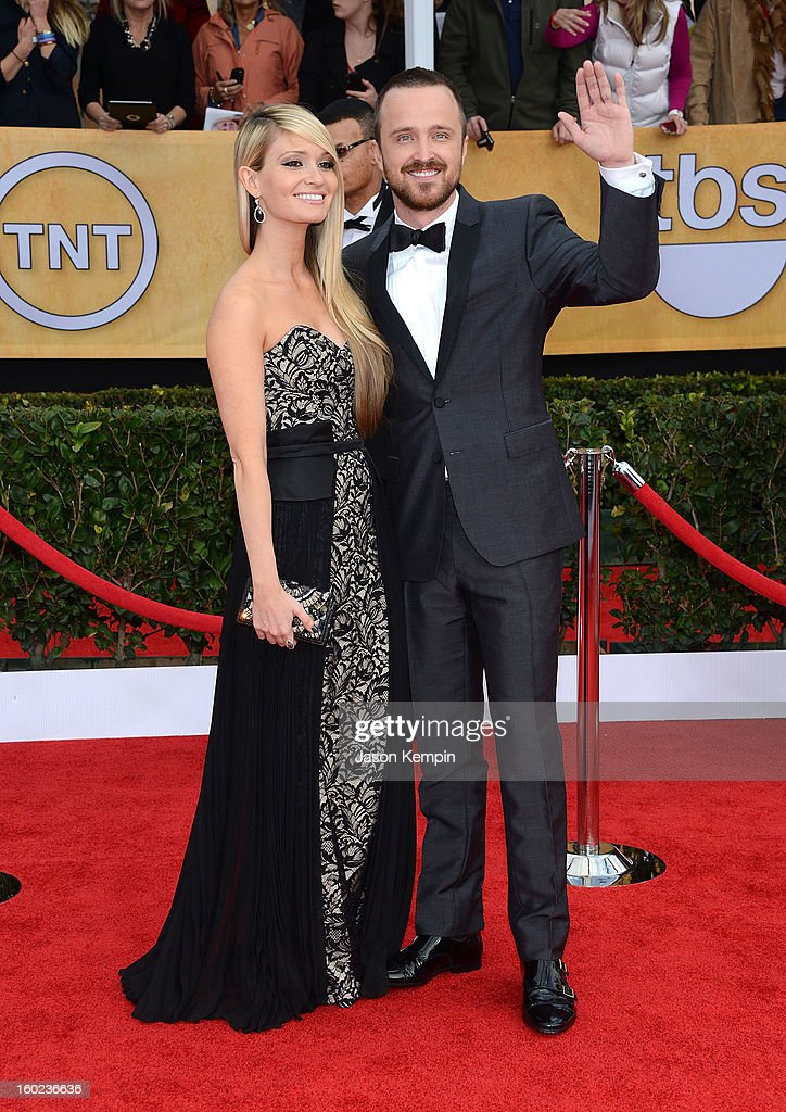 Actor Aaron Paul (R) and Lauren Parsekian attend the 19th Annual Screen Actors Guild Awards at The Shrine Auditorium on January 27, 2013 in Los Angeles, California.