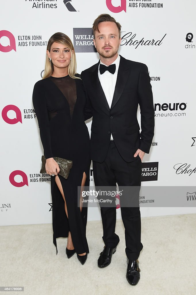 Actor Aaron Paul and Lauren Parsekian attend the 23rd Annual Elton John AIDS Foundation Academy Awards Viewing Party on February 22 2015 in Los...