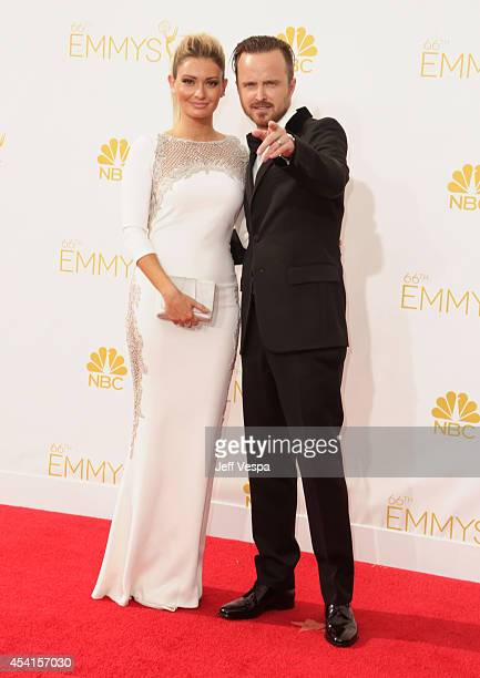 Actor Aaron Paul and Lauren Parsekian attend the 66th Annual Primetime Emmy Awards held at Nokia Theatre LA Live on August 25 2014 in Los Angeles...