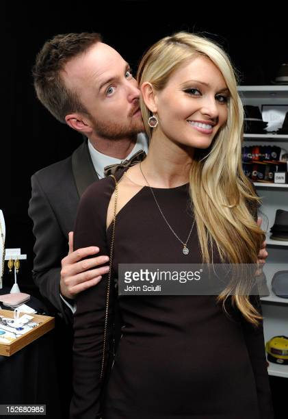 Actor Aaron Paul and Lauren Parsekian attend the Presenters Gift Lounge Backstage in celebration of the 64th Primetime Emmy Awards produced by On 3...