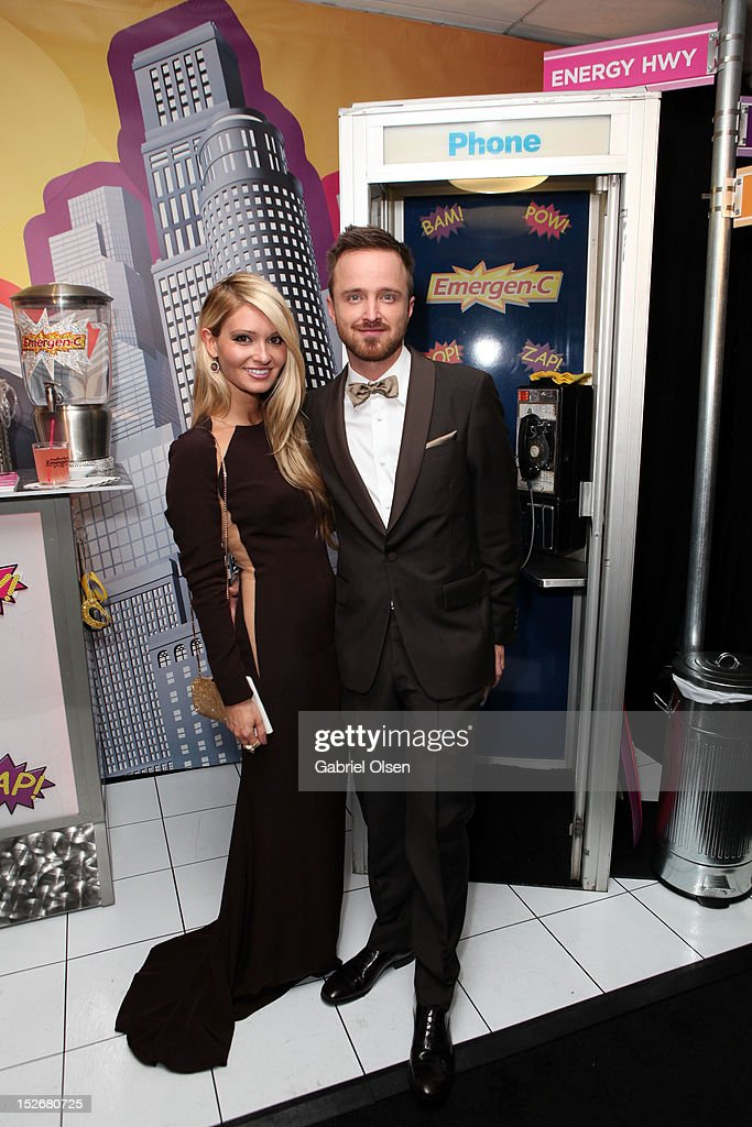 Actor <a gi-track='captionPersonalityLinkClicked' href=/galleries/search?phrase=Aaron+Paul+-+Actor&family=editorial&specificpeople=693211 ng-click='$event.stopPropagation()'>Aaron Paul</a> (R) and Lauren Parsekian pose with Emergen-C in the Presenters Gift Lounge Backstage in celebration of the 64th Primetime Emmy Awards produced by On 3 Productions at Nokia Theatre L.A. Live on September 23, 2012 in Los Angeles, California.
