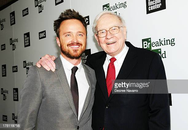 Actor Aaron Paul and Warren Buffett attend The Film Society Of Lincoln Center And AMC Celebration Of 'Breaking Bad' Final Episodes at The Film...