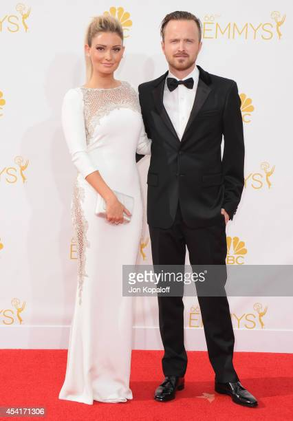 Actor Aaron Paul and wife Lauren Parsekian arrive at the 66th Annual Primetime Emmy Awards at Nokia Theatre LA Live on August 25 2014 in Los Angeles...