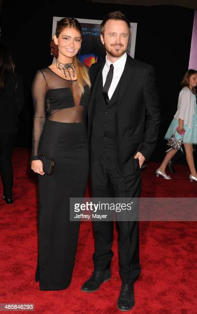 Actor Aaron Paul and wife Lauren Parsekian arrive at the Los Angeles premiere of 'Need For Speed' at TCL Chinese Theatre on March 6 2014 in Hollywood...
