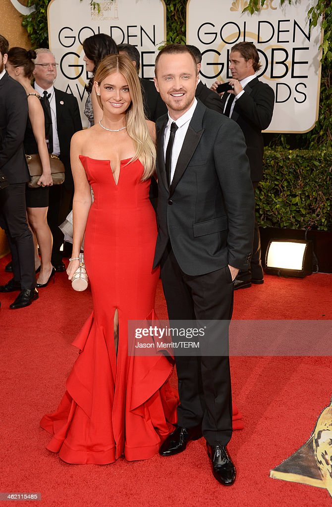 Actor Aaron Paul and wife Lauren Parsekian attend the 71st Annual Golden Globe Awards held at The Beverly Hilton Hotel on January 12 2014 in Beverly...