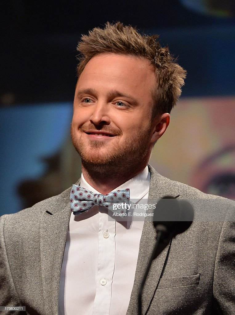 Actor <a gi-track='captionPersonalityLinkClicked' href=/galleries/search?phrase=Aaron+Paul+-+Actor&family=editorial&specificpeople=693211 ng-click='$event.stopPropagation()'>Aaron Paul</a> announces the nominees for the 65th Primetime Emmy Awards nominations at the Television Academy's Leonard H. Goldenson Theatre on July 18, 2013 in North Hollywood, California.
