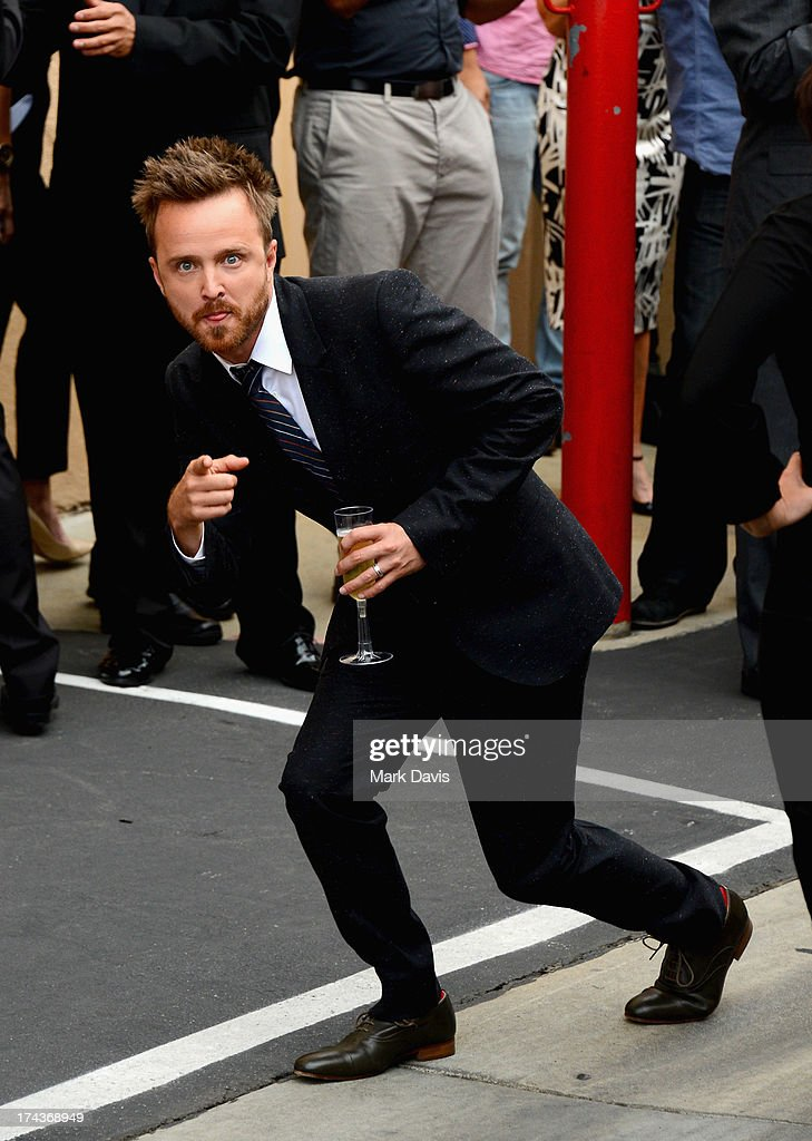 Actor <a gi-track='captionPersonalityLinkClicked' href=/galleries/search?phrase=Aaron+Paul+-+Actor&family=editorial&specificpeople=693211 ng-click='$event.stopPropagation()'>Aaron Paul</a> arrives as AMC Celebrates the final episodes of 'Breaking Bad' at Sony Pictures Studios on July 24, 2013 in Culver City, California.