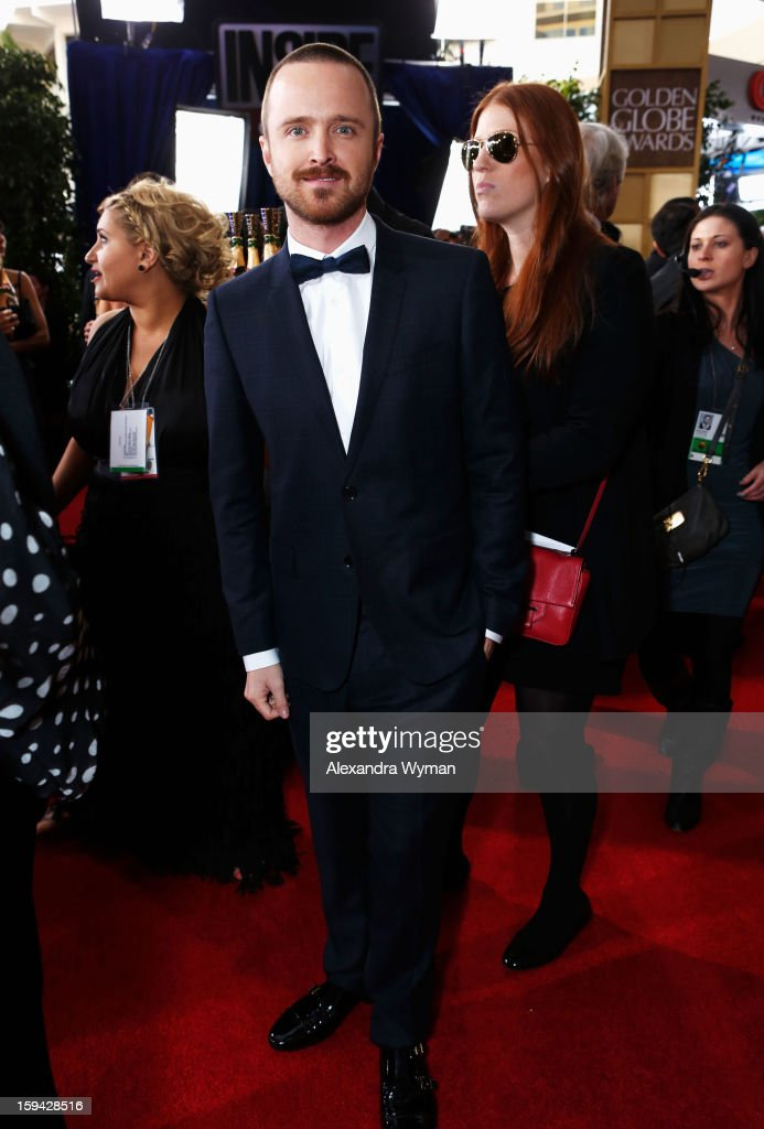 Actor <a gi-track='captionPersonalityLinkClicked' href=/galleries/search?phrase=Aaron+Paul&family=editorial&specificpeople=693211 ng-click='$event.stopPropagation()'>Aaron Paul</a> arrives at the 70th Annual Golden Globe Awards held at The Beverly Hilton Hotel on January 13, 2013 in Beverly Hills, California.