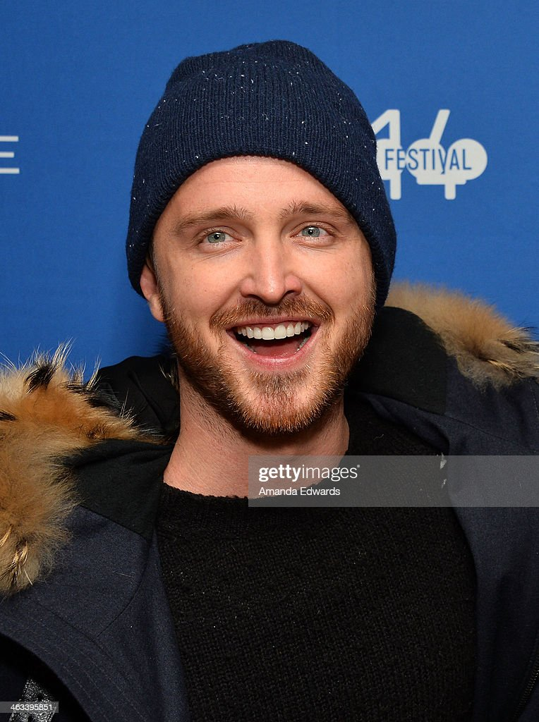 Actor <a gi-track='captionPersonalityLinkClicked' href=/galleries/search?phrase=Aaron+Paul+-+Actor&family=editorial&specificpeople=693211 ng-click='$event.stopPropagation()'>Aaron Paul</a> arrives at the 'Hellion' premiere party at Chase Sapphire on January 17, 2014 in Park City, Utah.