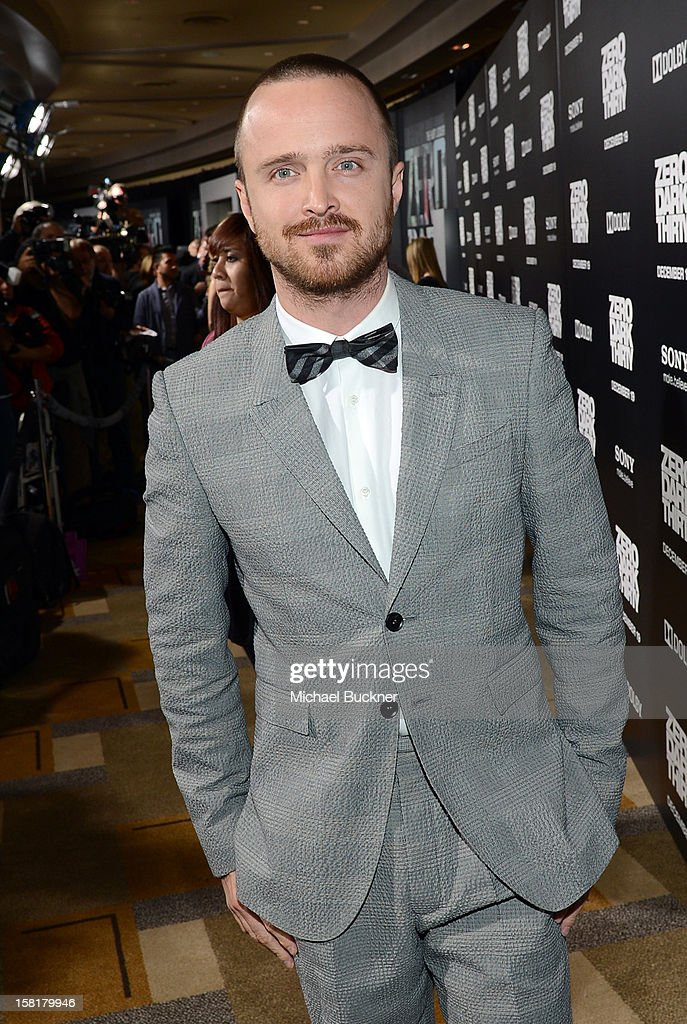 Actor Aaron Paul arrives at the Los Angeles premiere of Columbia Pictures' 'Zero Dark Thirty' at Dolby Theatre on December 10, 2012 in Hollywood, California.