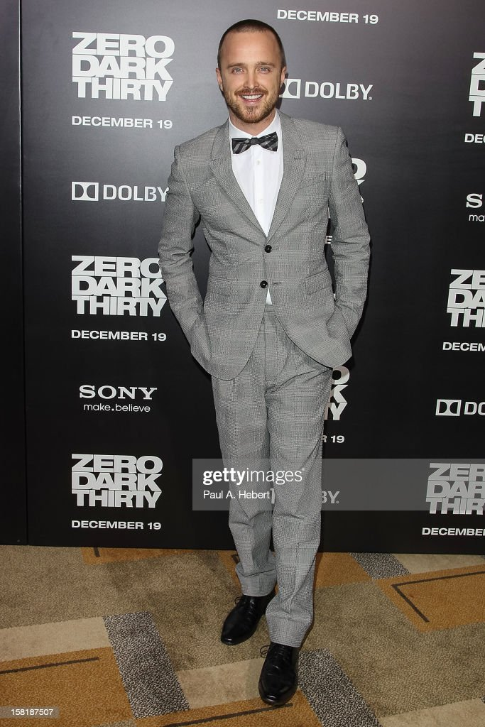 Actor Aaron Paul arrives at the premiere of Columbia Pictures' 'Zero Dark Thirty' held at the Dolby Theatre on December 10, 2012 in Hollywood, California.