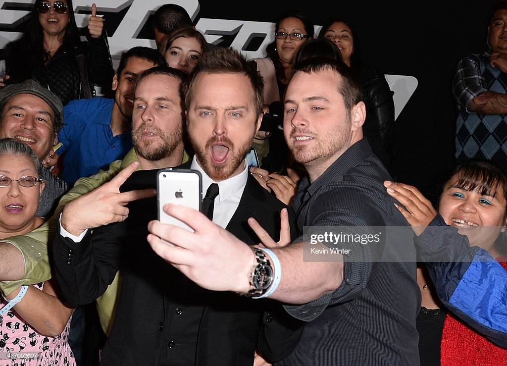 Actor <a gi-track='captionPersonalityLinkClicked' href=/galleries/search?phrase=Aaron+Paul+-+Actor&family=editorial&specificpeople=693211 ng-click='$event.stopPropagation()'>Aaron Paul</a> arrives at the premiere of DreamWorks Pictures' 'Need For Speed' at TCL Chinese Theatre on March 6, 2014 in Hollywood, California.