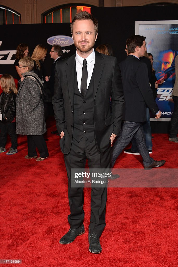 Actor <a gi-track='captionPersonalityLinkClicked' href=/galleries/search?phrase=Aaron+Paul+-+Actor&family=editorial&specificpeople=693211 ng-click='$event.stopPropagation()'>Aaron Paul</a> arrives for the premiere of DreamWorks Pictures' 'Need For Speed' at TCL Chinese Theatre on March 6, 2014 in Hollywood, California.