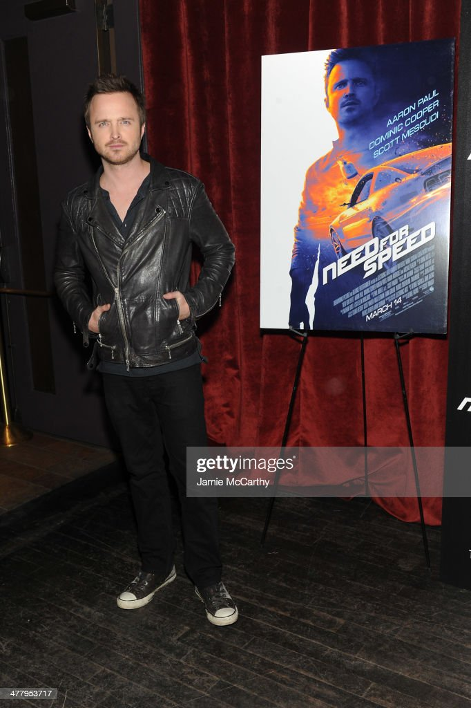 Actor <a gi-track='captionPersonalityLinkClicked' href=/galleries/search?phrase=Aaron+Paul+-+Actor&family=editorial&specificpeople=693211 ng-click='$event.stopPropagation()'>Aaron Paul</a> attends DreamWorks Pictures' 'Need For Speed' screening hosted by The Cinema Society and Bushmills on March 11, 2014 in New York City.