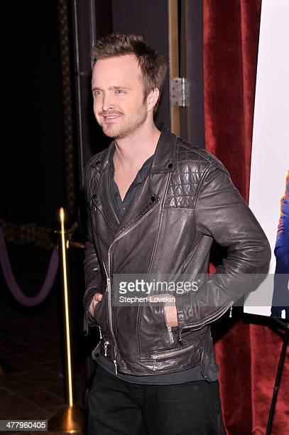 Actor Aaron Paul attends DreamWorks Pictures' 'Need For Speed' screening hosted by The Cinema Society and Bushmills on March 11 2014 in New York City