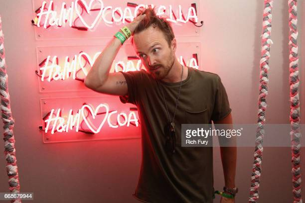Actor Aaron Paul attends HM Loves Coachella Tent during day 1 of the Coachella Valley Music Arts Festival at the Empire Polo Club on April 14 2017 in...
