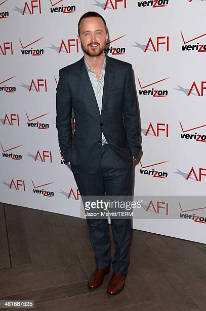 Actor Aaron Paul attends the 14th annual AFI Awards Luncheon at the Four Seasons Hotel Beverly Hills on January 10 2014 in Beverly Hills California