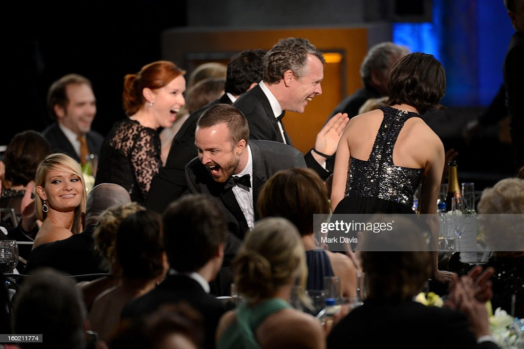 Actor <a gi-track='captionPersonalityLinkClicked' href=/galleries/search?phrase=Aaron+Paul+-+Actor&family=editorial&specificpeople=693211 ng-click='$event.stopPropagation()'>Aaron Paul</a> (C) attends the 19th Annual Screen Actors Guild Awards held at The Shrine Auditorium on January 27, 2013 in Los Angeles, California.