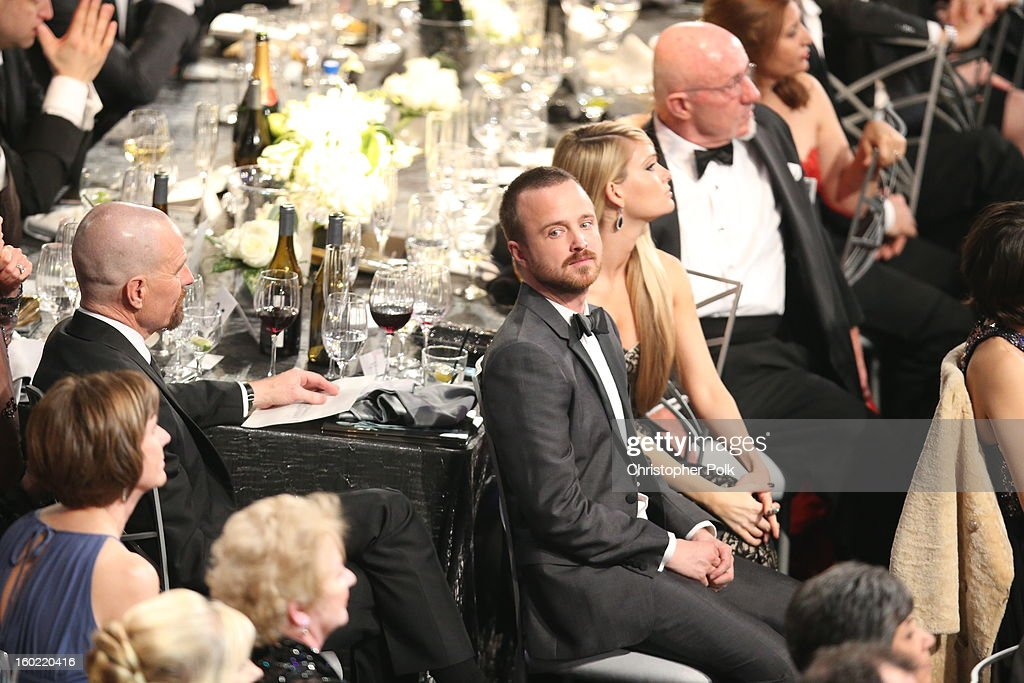 Actor Aaron Paul (C) attends the 19th Annual Screen Actors Guild Awards at The Shrine Auditorium on January 27, 2013 in Los Angeles, California. (Photo by Christopher Polk/WireImage) 23116_012_2666.JPG