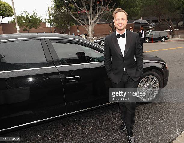 Actor Aaron Paul attends the 23rd Annual Elton John AIDS Foundation Academy Viewing Party in an Audi A8 L TDI on February 22 2015 in Los Angeles...