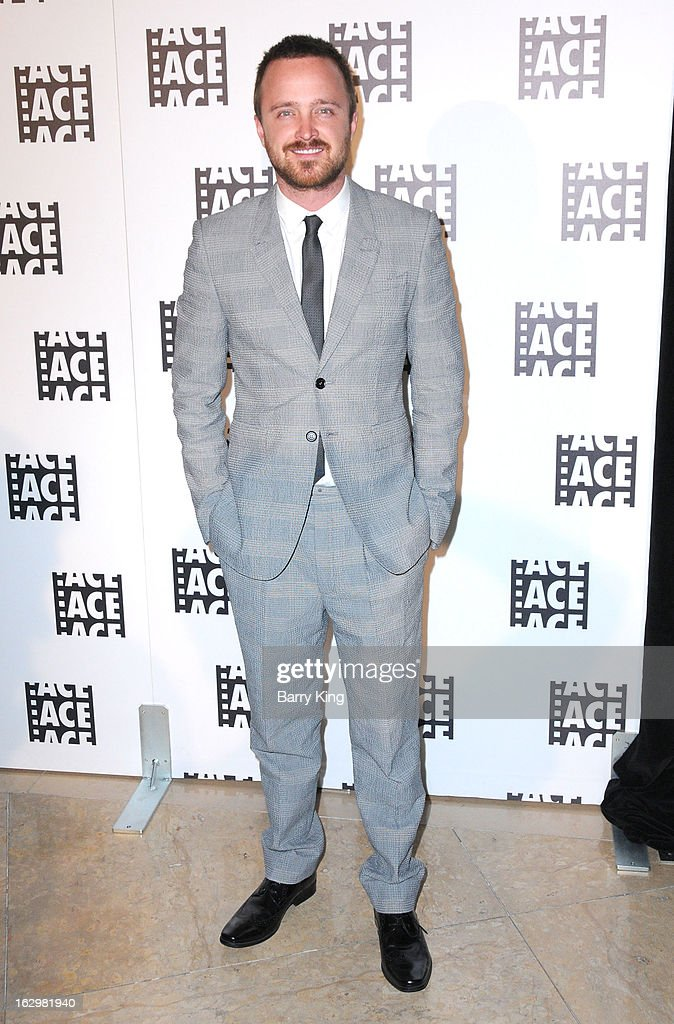 Actor <a gi-track='captionPersonalityLinkClicked' href=/galleries/search?phrase=Aaron+Paul&family=editorial&specificpeople=693211 ng-click='$event.stopPropagation()'>Aaron Paul</a> attends the 63rd Annual ACE Eddie Awards at The Beverly Hilton Hotel on February 16, 2013 in Beverly Hills, California.