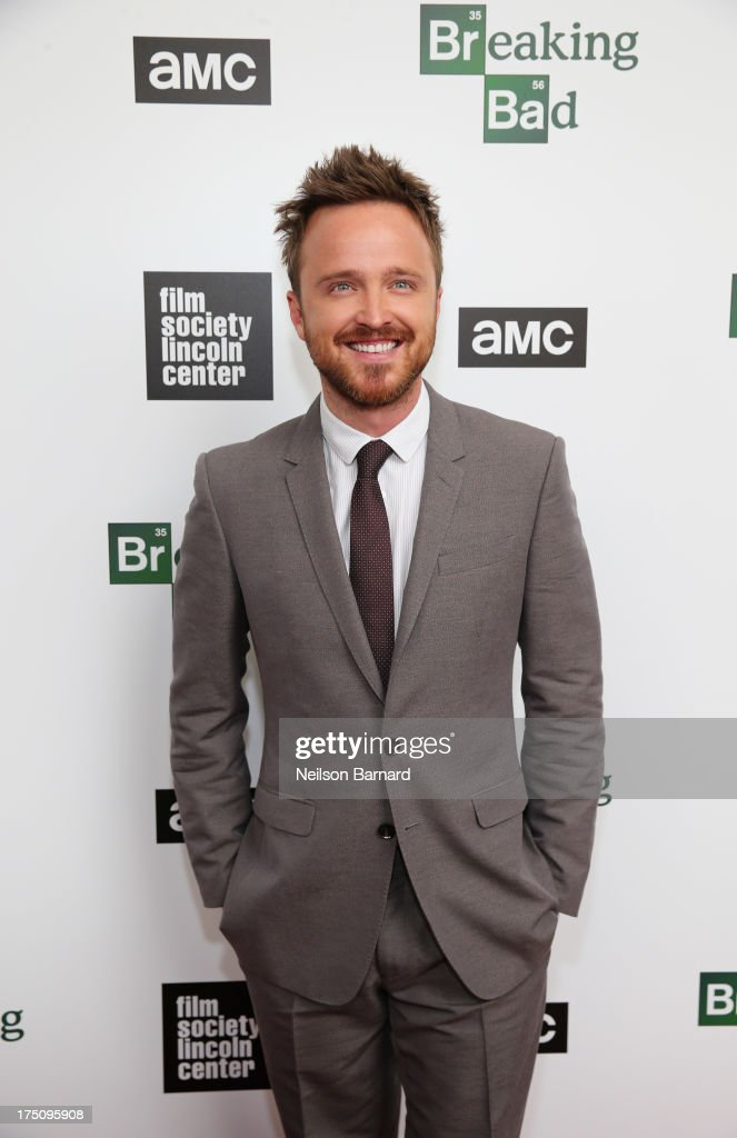 Actor <a gi-track='captionPersonalityLinkClicked' href=/galleries/search?phrase=Aaron+Paul+-+Actor&family=editorial&specificpeople=693211 ng-click='$event.stopPropagation()'>Aaron Paul</a> attends The Film Society of Lincoln Center and AMC Celebration of 'Breaking Bad' Final Episodes at The Film Society of Lincoln Center, Walter Reade Theatre on July 31, 2013 in New York City.