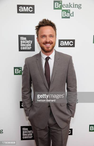 Actor Aaron Paul attends The Film Society of Lincoln Center and AMC Celebration of 'Breaking Bad' Final Episodes at The Film Society of Lincoln...