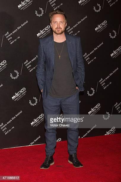 Actor Aaron Paul attends the Riviera Maya Film Festival 2015 closing night gala at Hotel Yucatan Platinum Princess on April 29 2015 in Playa del...