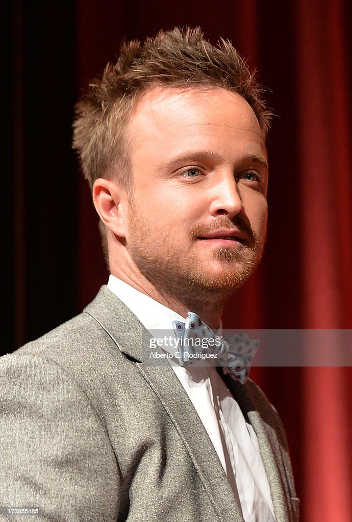 Actor Aaron Paul is seen onstage following the 65th Primetime Emmy Awards nomination announcements at the Television Academy's Leonard H. Goldenson Theatre on July 18, 2013 in North Hollywood, California.
